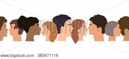 Seamless Border Pattern Of Different People Profile Heads. Humans Of Different Gender, Ethnicity, An