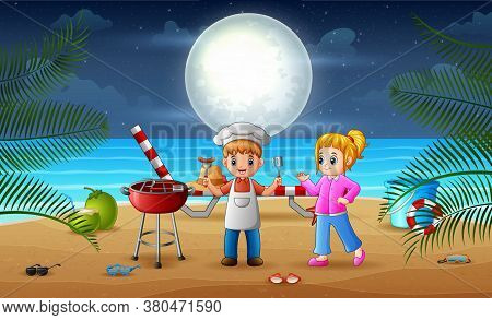 Beach Barbeque Party With Happy Children Illustration