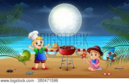 Illustration Of Evening Barbeque With Little Kids