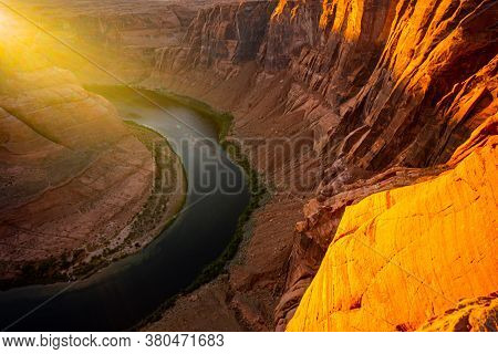 Sunrise Shot Of Horseshoe Bend, Page, Arizona. Arizona Horseshoe Bend Of Colorado River In Grand Can