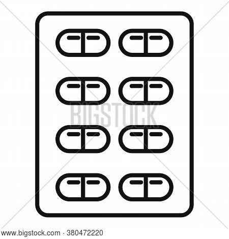 Survival Pills Blister Icon. Outline Survival Pills Blister Vector Icon For Web Design Isolated On W