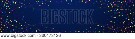 Festive Memorable Confetti. Celebration Stars. Festive Confetti On Dark Blue Background. Amazing Fes