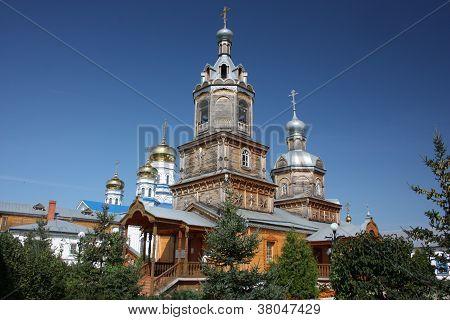 Russia, Chuvash Republic, Tsivilsk. The Virgin of Tikhvin Monastery. Temple of the Holy Martyr Harlampy. poster