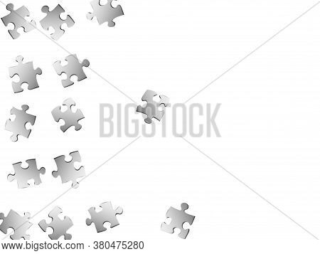 Game Teaser Jigsaw Puzzle Metallic Silver Pieces Vector Background. Top View Of Puzzle Pieces Isolat