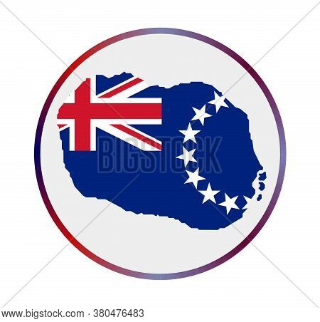 Cook Islands Icon. Shape Of The Island With Cook Islands Flag. Round Sign With Flag Colors Gradient