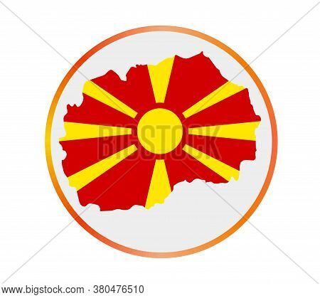 Macedonia Icon. Shape Of The Country With Macedonia Flag. Round Sign With Flag Colors Gradient Ring.