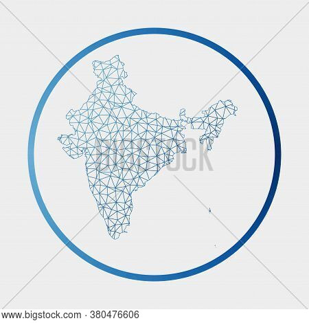 India Icon. Network Map Of The Country. Round India Sign With Gradient Ring. Technology, Internet, N