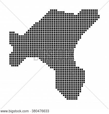 Salt Island Map. Map Of Salt Island In Dotted Style. Borders Of The Island Filled With Rectangles Fo
