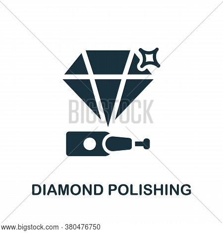Diamond Polishing Icon. Simple Element From Jewelery Collection. Creative Diamond Polishing Icon For