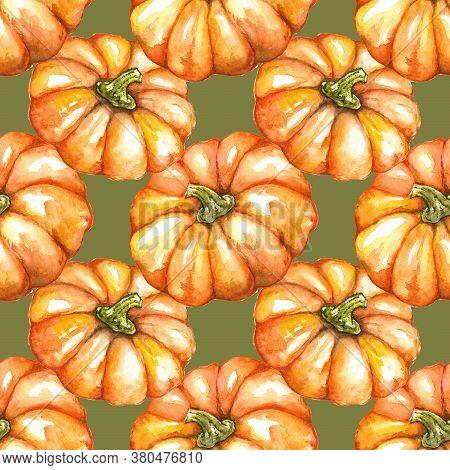 Watercolor Orange Pumpkin Vegetable Jack-o-lantern Halloween Seamless Pattern Texture Background