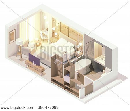 Vector Isometric Hotel Suite Interior Cross-section. Hotel Room With Double Bed, Big Window, Tv, Bat