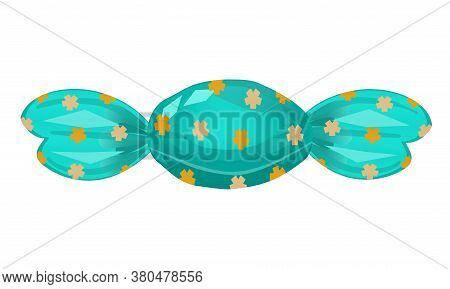 Candy Isolated On White Background. The Candy Is Wrapped In A Wrapper With Patterns. Illustration In