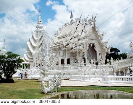 Chiang Rai. Thailand, June 17, 2017: Wat Rong Khun. General View Of The Spectacular White Temple In