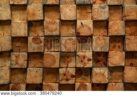 Wood Veneer Texture With Square Cut Wood Pieces. Wooden Wallboard Background Image. Wood Texture Squ