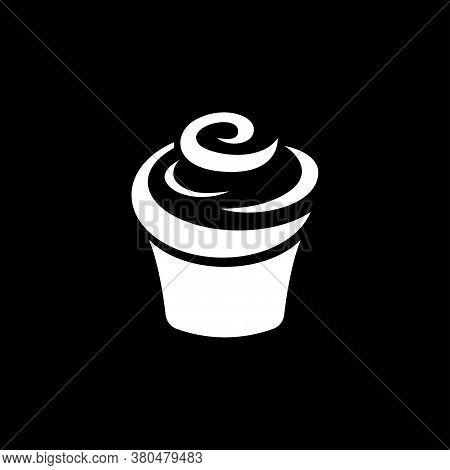 Cupcake Icon. Cupcake Shop Logo Template. Pink Creamy Glossy Cake Illustration.