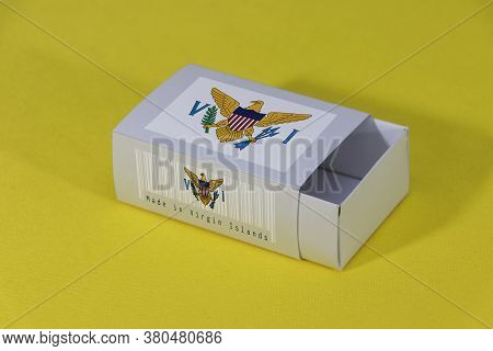 Us Virgin Islands Flag On White Box With Barcode And The Color Of Nation Flag On Yellow Background,