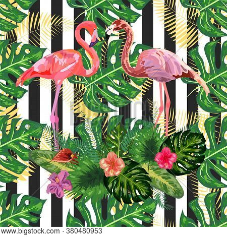 Seamless Pattern Pink Flamingo And Hibiscus Flower On A Black And White Geometric Background.