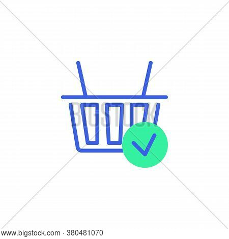 Shopping Basket With Check Mark Icon Vector, Filled Flat Sign, Shopping Order Success Bicolor Pictog