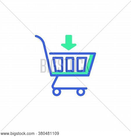 Shopping Cart With Arrow Icon Vector, Filled Flat Sign, Add To Cart Bicolor Pictogram, Green And Blu