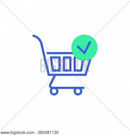 Shopping Cart Check Mark Icon Vector, Filled Flat Sign, Purchase Confirmation Bicolor Pictogram, Gre