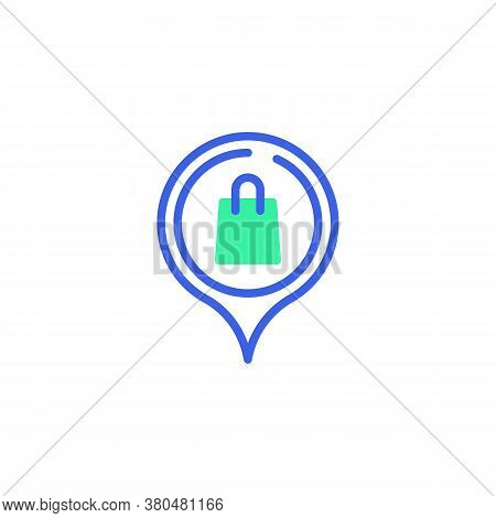 Shop Location Pin Icon Vector, Filled Flat Sign, Map Pointer With A Shopping Bag Bicolor Pictogram,
