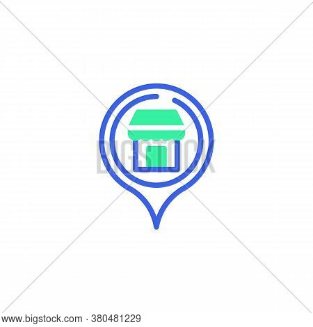 Map Marker With Shop Icon Vector, Filled Flat Sign, Supermarket Geo Position Bicolor Pictogram, Gree