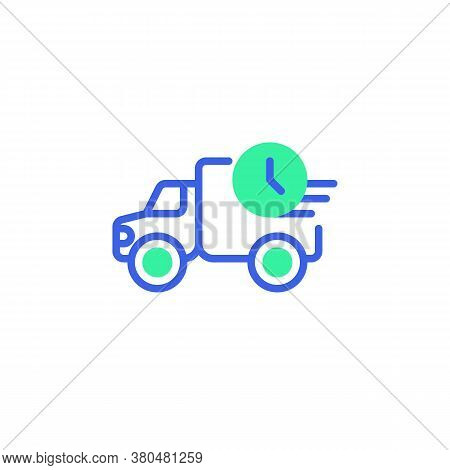 Express Delivery Truck Icon Vector, Filled Flat Sign, Fast Delivery Bicolor Pictogram, Van And Clock