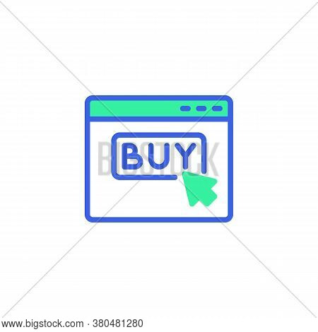 Click Buy Web Page Icon Vector, Filled Flat Sign, Online Shopping Bicolor Pictogram, Green And Blue