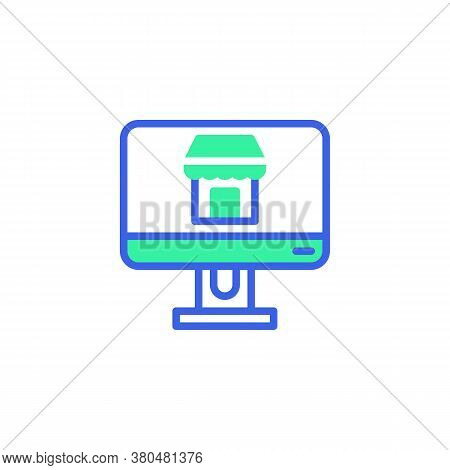 Computer Monitor With Shop Icon Vector, Filled Flat Sign, Shop Online Bicolor Pictogram, Green And B