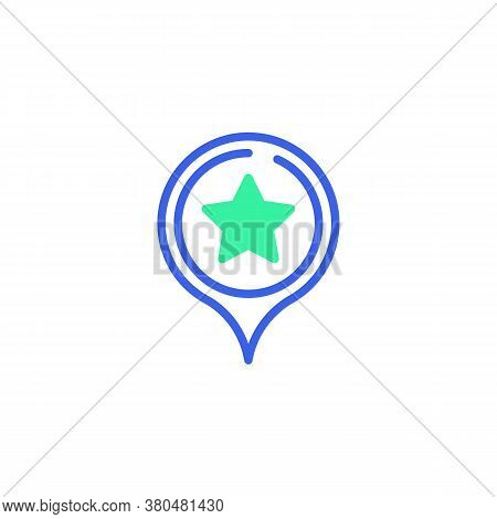 Map Marker With Star Icon Vector, Filled Flat Sign, Favorite Place Point Bicolor Pictogram, Green An