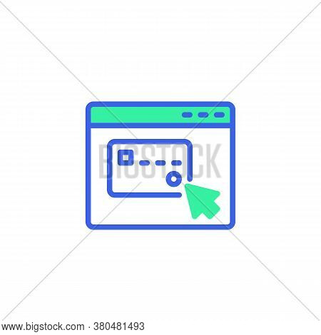 Website With Credit Card Pay Icon Vector, Filled Flat Sign, Online Shopping Payment Bicolor Pictogra
