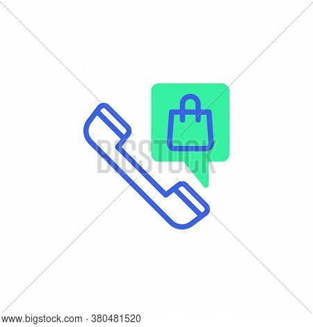 Shop By Phone Call Icon Vector, Filled Flat Sign, Online Shopping Support Bicolor Pictogram, Green A