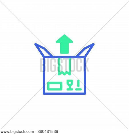Delivery Box And Arrow Up Icon Vector, Filled Flat Sign, Parcel Box Send Bicolor Pictogram, Green An
