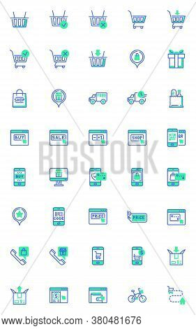 Shopping And E-commerce Vector Icons Set, Modern Solid Bicolor Symbol Collection, Filled Style Picto