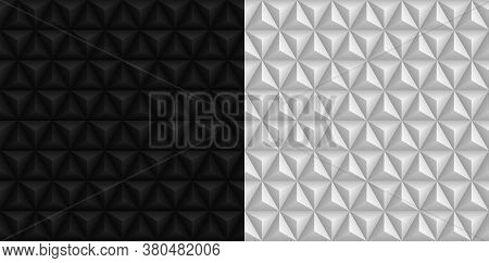 Black And White 3d Triangles Pyramids Backgrounds. Geometric Hexagons, Diamonds Seamless Patterns. V