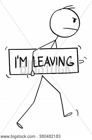Cartoon Stick Figure Drawing Conceptual Illustration Of Angry Unhappy, Discontent Or Dissatisfied Ma