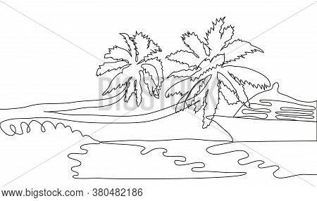 Single Continuous One Line Art Ocean Travel Vacation. Sea Voyage Holiday Tropical Island Ship Yacht