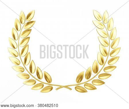 Gold Laurel Wreath isolated on white. Award, glory concept. 3d rendering