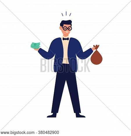 Wealthy Happy Man Holding Banknote, Money Bag And Financial Accumulation, Income Profit. Save Cash,