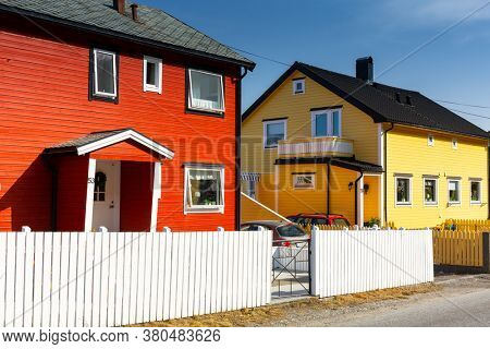 Alesund, Norway - April 14, 2018: Traditional colorful architecture of Alesund town in Norway. Alesund is a popular tourist destination in Norway