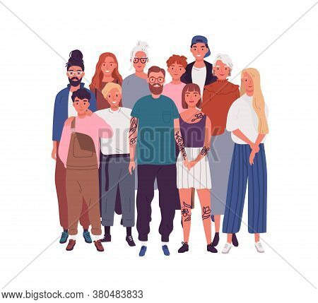 Diversity Of People In Modern Society. Crowd Of Different Men, Women, Kids, Teenagers. Old, Aged, El