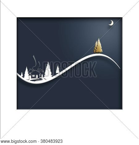 Beautiful Stylish Minimalist Christmas Winter Night Landscape With Houses, Moon, Pine Fir And Gold C