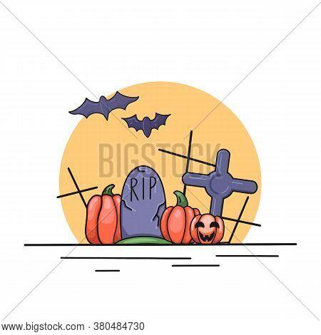 Festive Contour Illustration For Halloween. Contour Bats, Pumpkin, Lantern, Headstone And Crosses Ag