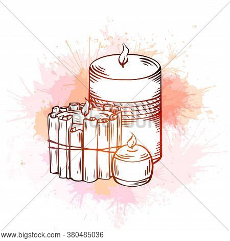 Relax Candles. Black And White Sketch With Hatching. Wax Candles With Cinnamon Sticks, Decoration An