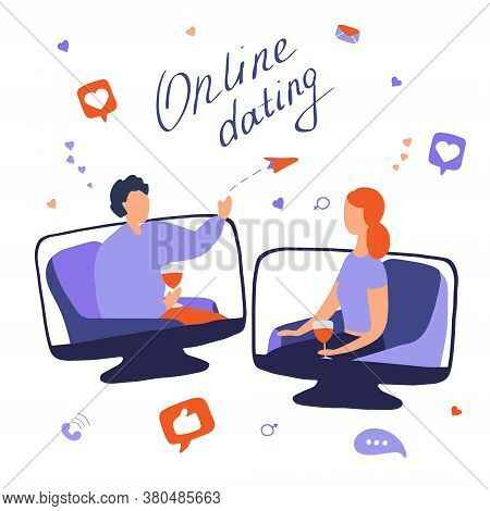 Online Dating Concept. Young Woman And Man Talking Online. Couple Met On Dating Site And Communicate
