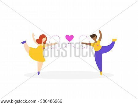 Cute Lesbian Couple In Love. Romantic Lgbtq Partners On White Isolated Background. Happy Homosexual