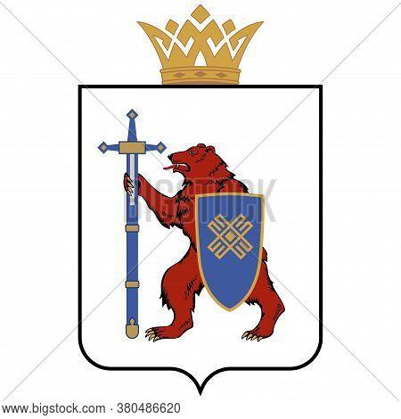 Coat Of Arms Of Mari El Republic Is A Federal Subject Of Russia. Vector Illustration
