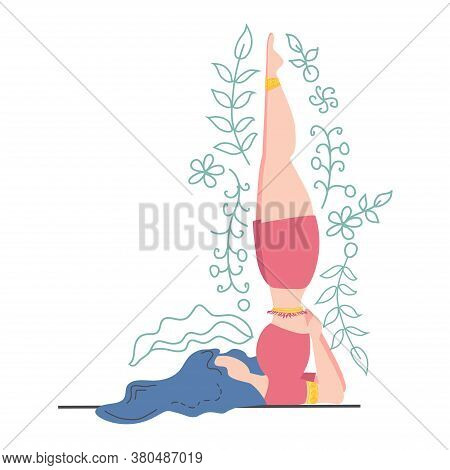 Woman In The Pose Of The Queen Of Asanas - Sarvangasana Decorated With Leaves And Flowers. Yoga, Con