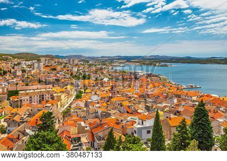 City Skyline Of Sibenik From St. Michael's Fortress. An Ancient Town On The Dalmatian Coast Of Adria