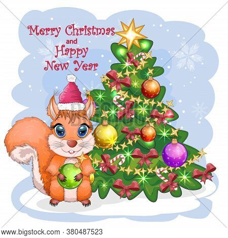 Cute Cartoon Squirrel With Beautiful Eyes In Santa Claus Hat With Gift, Candy Cane, Ball Near Decora